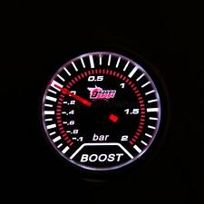 "2"" 52mm Car Vehicle Bar Boost Gauge Volt Meter Universal Smoke Lens White LED"