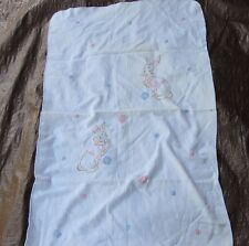 VINTAGE BABY RECEIVING BLANKET PASTEL BUNNY RABBIT EMBROIDERY EMBROIDERED COTTON