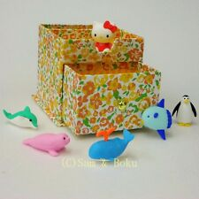 Japanese Erasers Hello Kitty and Cute Aquarium.With storage box.