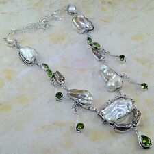 "Handmade Rainbow Natural Biwa Pearl 925 Sterling Silver Necklace 22.25"" #J77914"