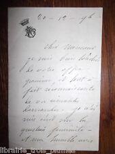 ✒ L.A.S. comtesse Diane de BEAUSACQ jolie lettre sur le féminisme PEU COURANT