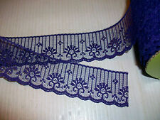 "VINTAGE ROLL CANDLEWICK LACE 1 7/8"" PURPLE 100 yds FLAT CRAFT DOLLS SEW TRIM"
