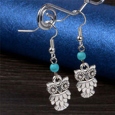 Bohemia Folk-custom  Silver Plated Cute Owl Turquoise Dangling Earrings