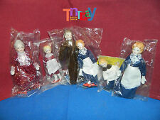 Victorian Doll House Family 6pcs - Dad, Mom, Brother, Sister, Granny, Aunt 1/12