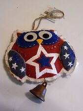 RED WHITE & BLUE BURLAP Stars OWL WITH BELL DECORATION ORNAMENT CHRISTMAS