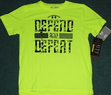 NWT Under Armour L Boys FOOTBALL Neon Yellow/Black DEFEND & DEFEAT Shirt YLG