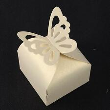 10X Beige Wedding Favor Gift Box Party Butterfly Pattern Sweet Candy Mini Holder