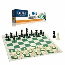 Best Value Tournament Chess Set 90% Plastic Filled Pieces & Green Roll-Up