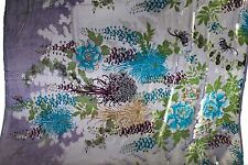 "100% PURE SILK VELVET BURNOUT PURPLE AND TURQUOISE FABRIC 45"" WIDE BY THE YARD"