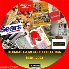 GREAT COLLECTION OF RETAIL CATALOGUES ARGOS WARDS ++ 1940- 2003 ON PC DVD NEW