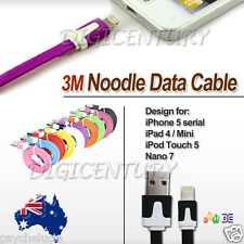 3M Long Flat Noodle IPHONE 6 6+ 5 5S TOUCH 5 IPAD Mini CHARGING DATA SYNC CABLE