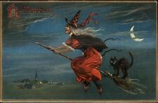 Halloween - Witch Flying on Broom c1910 Postcard TUCK 150
