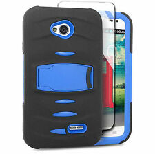 For LG Optimus L70 Exceed 2 Hard Phone Case Cover with Kickstand + Screen Blue