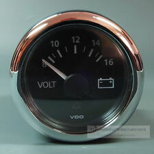 VDO MARINE VOLTMETER INSTRUMENT GAUGE MIT CHROMRING LED 12V 52mm  new Generation