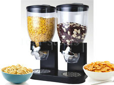 NEW DOUBLE SIZE DRY FOOD CEREAL DISPENSER KITCHEN STORAGE TWIN CONTAINER MACHINE