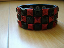 Shinning Red Checkered Studded Leather Bracelet