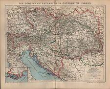 Landkarte map 1903: DIE SCHIFFAHRTSSTRASSEN IN ÖSTERREICH-UNGARN.