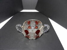 "Ohio Flint Glass Krys-Tol Gloria Open Sugar Bowl Clear Ruby Stain 4"" D ca1905"