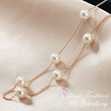 18K Rose Gold Plated Exquisite Simulated Pearl Necklace Fashion Jewellery