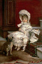 """Oil painting young girl in white dress seated Hand painted her fat pet dog 36"""""""