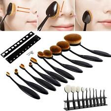 10Pcs Toothbrush Makeup Brush Oval Powder Cream Foundation Brushes + Holder Set