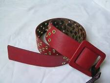 BETSEY JOHNSON Red/Gold Faux Leather Square Buckle Belt SZ M/L NWT