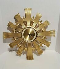 8 day Syroco wood & brass wall clock w/key Starburst Sunburst Eames Majestic era