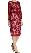 BNWT��COAST��Size 10 CORALLA Red FLORAL LACE FITTED PENCIL DRESS (38EU) New