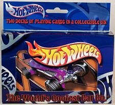 Hot Wheels Two Decks of Bicycle Playing Cards In Collectible Tin 2001 New