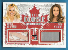 TRISH STRATUS WORN LEATHER PANTS & PAMELA ANDERSON NIGHTGOWN RELIC CARD 2011