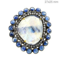 Sapphire Rainbow Moonstone 14k Gold Ring Sterling Silver Pave Diamond Jewelry