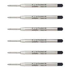 6 Parker Quink Flow Ball Point Pen Refill Black Ink Fine Nib Jotter