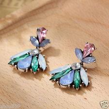 New Woman Statement clear crystal Rhinestone long Ear Studs hoop earrings 1019