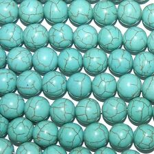 """GR1989L2 Blue-Green Turquoise 13mm Smooth Round Magnesite Gemstone Beads 15"""""""