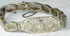 1920'S VINTAGE ANTIQUE 10K WHITE GOLD FILIGREE DIAMOND BRACELET