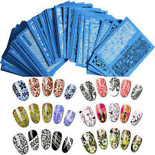 Cute Lace 48 Sheets Nail Art Water Transfer Decals Flowers Stickers Black/White@
