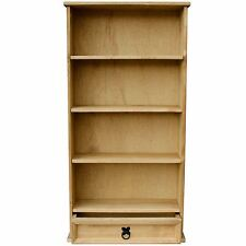CORONA DVD RACK BOOKCASE 1 Drawer 3 Shelf Mexican Solid Waxed Pine Unit