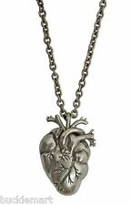 Pewter Gothic BIG Human Heart Necklace with Chain Anatomical Vampire