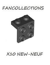 LEGO-X10 Black Bracket 1 x 2 - 2 x 2 , 44728  NEUF