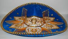 Authentic Mexican Mariachi-Sombrero Charro Hat True Adult Size 23 Turquoise/Gold