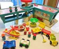 Vintage Fisher Price Little People Play Family Airport #996 wood figures extras