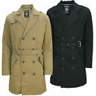 Mens Long Trench Coat Soulstar Double Breasted Padded Military Belt Jacket