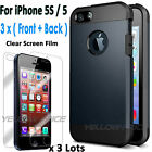 [SLIM & PROTECTIVE CASE] Shockproof Tough Case + Films for iPhone 5S / iPhone 5