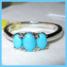 Sleeping Beauty Turquoise 3-stone Ring Platinum over Sterling Silver 925 sz 7 8