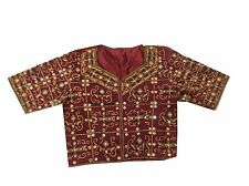 VINTAGE INDIAN RAJASTHANI BANDHANI EMBROIDERED MAROON BLOUSE CHOLI SIZE-L ,B-24