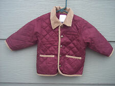 Gymboree Quilted Jacket Sz 12-24 Months Burgundy Red Brown Corduroy Grizzly Lake
