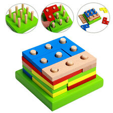 Assembled Wooden Toys Baby Toddler Wooden Building Developmental 3D Puzzle Toys