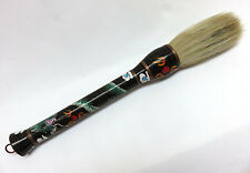 "Large 15"" Vintage Chinese Black Cloisonne Enamel Dragon Calligraphy Paint Brush"