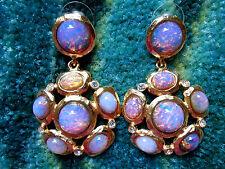 Kenneth Jay Lane Satin Gold Large Pink Opal Drop Pierced Earrings