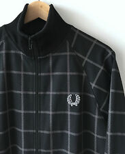 FRED PERRY BLACK & GREY CHECK CLASSIC TRACK JACKET / TOP S mod weller casuals